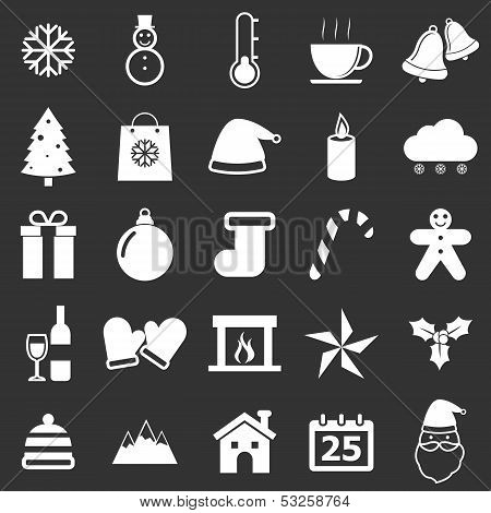 Winter Icons On Black Background