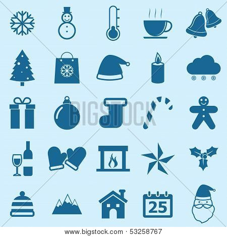 Winter Color Icons On Blue Background