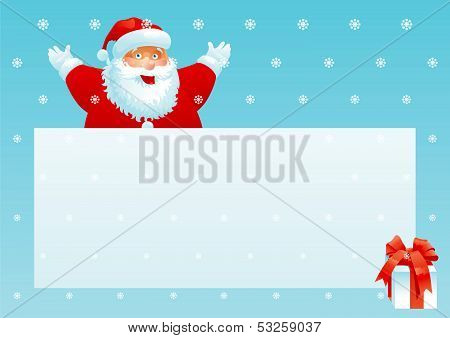 Santa Claus and gift box with christmas letter