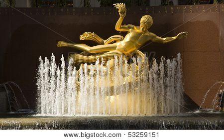 Gold Prometheus Statue