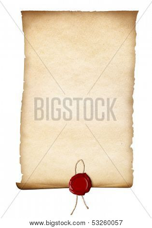 parchment or old paper with red seal isolated