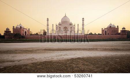 The Taj Mahal at Sunset in Agra, India