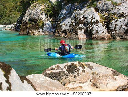 Kayaking On The Soca River, Slovenia