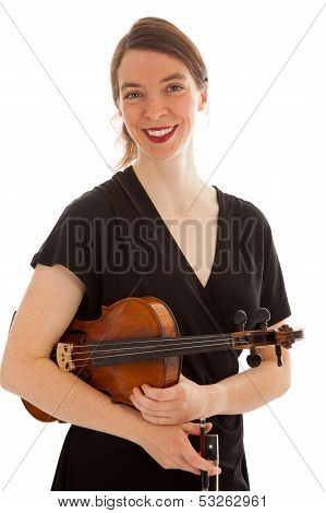 The Beautiful Young Woman Is Holding A Violin In Her Hand
