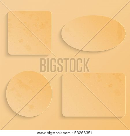 Beige Paper Sheets Of Different Shapes.grunge Design.geometric Figures From Cardboard.vector