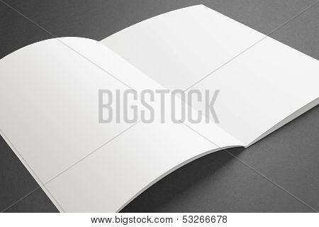Blank Opened Magazine On Dark Background