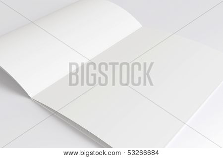 Blank Opened Magazine Isolated On White