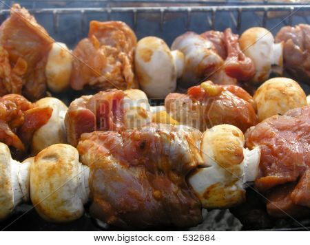 Shashlik With Mushrooms