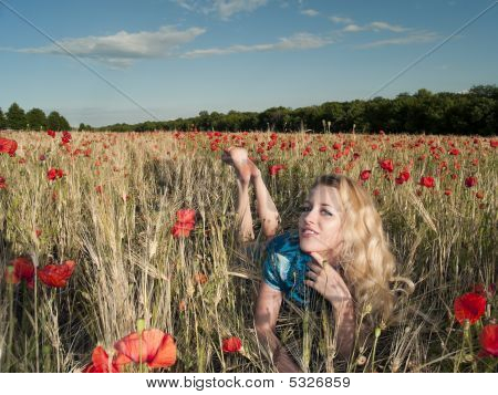 Blonde In Poppies
