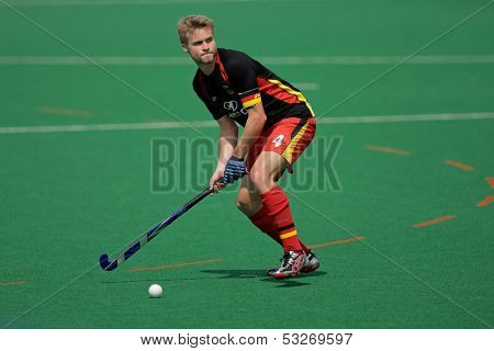 BLOEMFONTEIN, SOUTH AFRICA - MARCH 14: A German player in action during an international men's field hockey game between Germany and South Africa March 14, 2009 in Bloemfontein. Germany won 4-3.