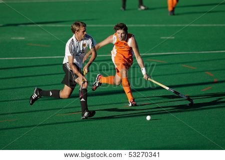BLOEMFONTEIN, SOUTH AFRICA -  JAN. 16: Action during an international menas field hockey game between Germany and Netherlands (Netherlands won 2-1), Bloemfontein, South Africa, 16 January 2010