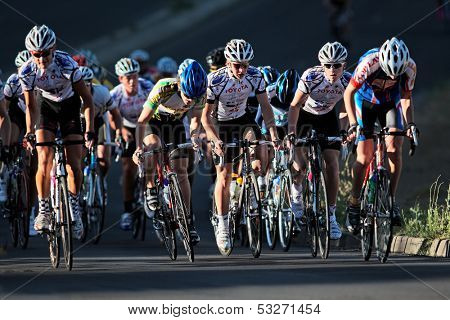 BLOEMFONTEIN, SOUTH AFRICA - NOVEMBER 7: Unidentified cyclists during the annual OFM Classic cycle race on November 7, 2010 in Bloemfontein, South Africa.