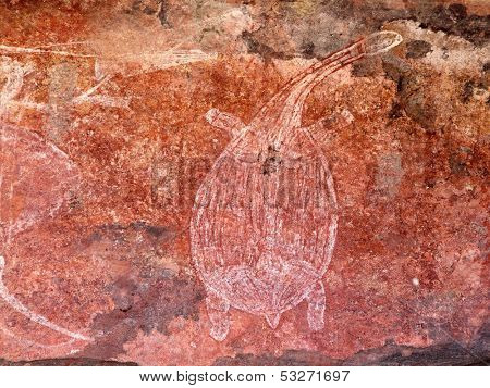 Aboriginal rock art depicting a turtle, Ubirr, Kakadu National Park, Northern Territory, Australia
