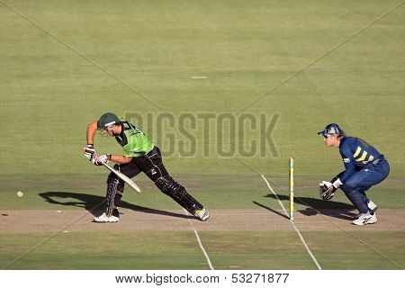 SOUTH AFRICA - DECEMBER 22: Colin Ingram & Morne van Wyk during a one-day cricket match between the Knights and Warriors (Knights won the match) on November 12, 2010 in Bloemfontein, South Africa