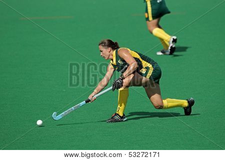 BLOEMFONTEIN, SOUTH AFRICA - FEBRUARY 7: Kim Hubach of SA in action during a women's field hockey match between South Africa and Belgium, Bloemfontein, South Africa, 7 February 2011