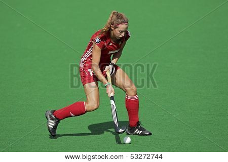 BLOEMFONTEIN, SOUTH AFRICA - FEBRUARY 8: N Nelen of Belgium in action during a womens field hockey match between South Africa and Belgium, Bloemfontein, South Africa, 8 February 2011