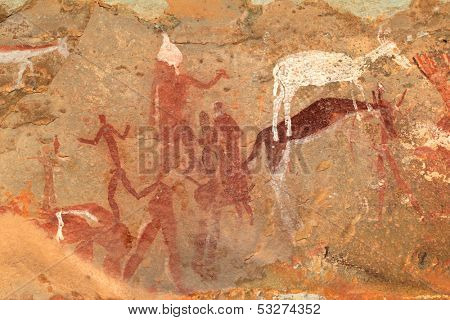 Bushmen (san) rock painting of human figures and antelopes, Drakensberg mountains, South Africa