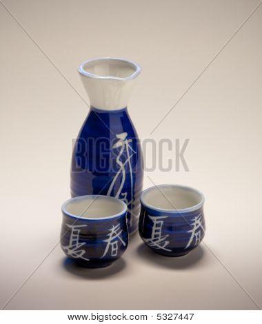 Sake Flask And Cups