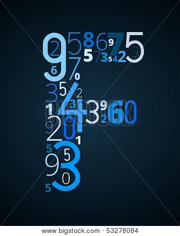 Letter F, vector font from numbers