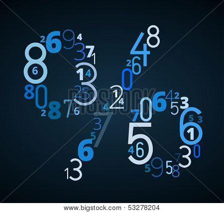 Pecent sign vector font from numbers