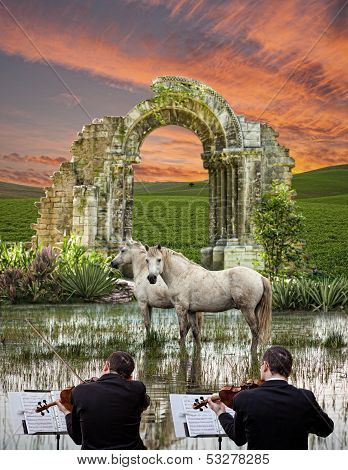 Violinists And Horses In The Swamp