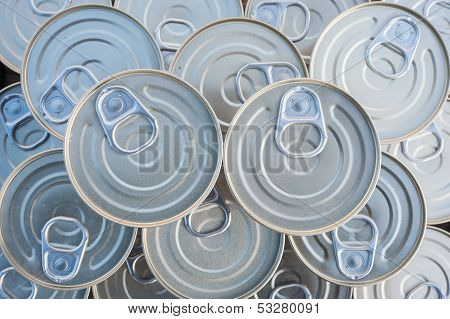 Canned goods stacked