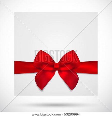 Holiday card, Christmas card, Gift card (greeting card) template with bow