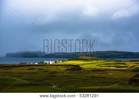 Coastal landscape on the Isle of Skye in Scotland