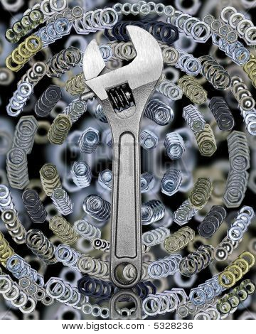Adjustable Wrench And Nuts.