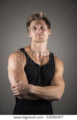 Blond Handsome Man In Black Shirt