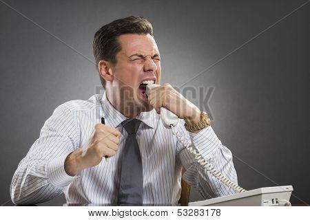 Furious Executive Biting Phone Receiver