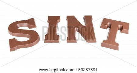 Chocolate Letters Making The Word 'sint' For A Traditional Dutch Event