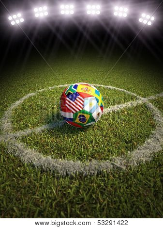 3d rendering of a soccer ball on a soccer field