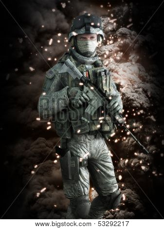 American soldier with a battlefield background