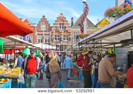 People At The Fair In The Festive City. Dordrecht, Netherlands
