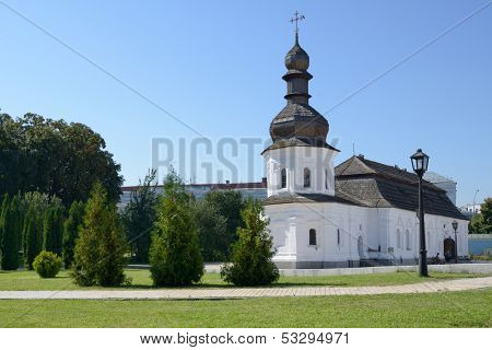 KIEV, UKRAINE - AUGUST 20: Refectory with the church of St. John the Divine in St. Michael's Monastery in Kiev, Ukraine on August 20, 2013. The monastery was reconstructed after the demolition of 1935