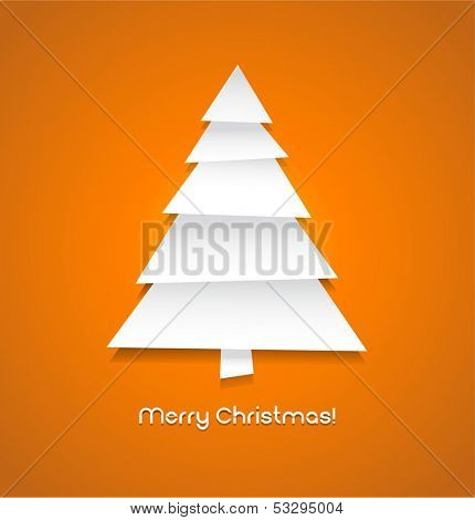 Vector christmas tree made from pieces of white paper