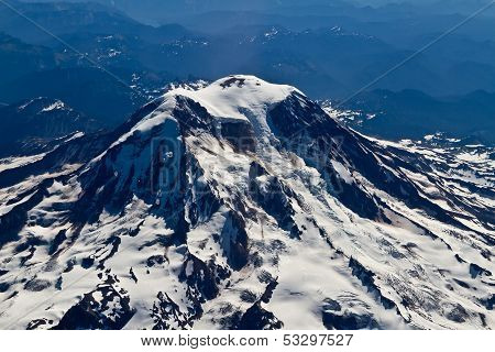 High Altitude Full Aerial View of Mount Rainier and Surrounding Area