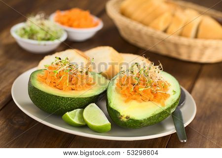 Avocado with Grated Carrot and Sprouts
