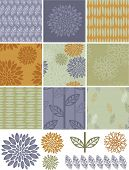 stock photo of quilt  - Pretty autumn floral vector seamless patterns and icons - JPG