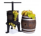 stock photo of wine-press  - Traditional manual grape pressing utensil and barrel with white grapes - JPG