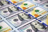 image of 100 dollars dollar bill american paper money cash stack  - Creative abstract business financial success and making money concept - JPG