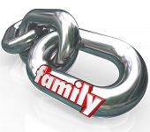 The word Family on silver metal chain links to illustrate close relationships between related people