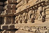 picture of khajuraho  - Elephant Sculptures at Vishvanatha Temple  - JPG