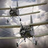 stock photo of propeller plane  - Retro style picture of the biplanes - JPG