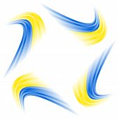 picture of quirk  - Abstract Ukrainian waving flag isolated on white background - JPG