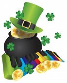 foto of rainbow piano  - St Patricks Day Leprechaun Hat with Rainbow Colors Piano Wavy Keyboard and Pot of Gold Coins Isolated on White Background Illustration - JPG