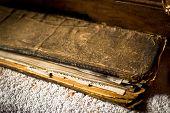 stock photo of mantra  - Buddhist prayer book with mantras Tibetan Spituk monastery - JPG