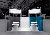 picture of reception-area  - modern exhibition stand with blank white banners - JPG