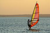 Backlit windsurfer at sunset on calm coastal water